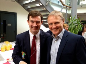 Ireland Rugby Head Coach, Joe Schmidt, a former post-primary teacher and principal with Dr Tony Hall, Lecturer in the School of Education and outhalf and committee member, NUIG Rugby.