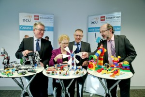 Pictured at the launch of the new Lego® Education Innovation Studio (LEIS) at DCU's Institute of Education, left to right: Professor Daire Keogh, Deputy President of DCU and President of St Patrick's College; Dr Deirdre Butler, leader of the new Lego® Education Innovation Studio (LEIS); Gary Jones, Area Manager Central Europe/Benelux/IRL Lego Education Europe; and Professor Brian MacCraith, President of DCU.