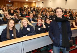 Cillian Murphy, Actor and Patron of the UNESCO Child and Family Research Centre at NUI Galway, pictured with the 200 Transition Year students who attended NUI Galway's Youth Empathy Day