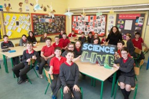 Class at Bayside Senior National School, Sutton, celebrating the launch of Science LIVE