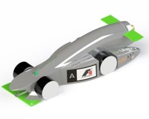The miniature Formula One car created by Unity Racing team, St Muredach's College, Ballina, Co. Mayo, which will form the centre point of their entry at the F1 in Schools world finals in Kuala Lumpur in September.