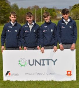 L-R: Cormac MacDermott, Sean Treacy, Richard Grimes and Peter Timlin, transition year students at St Muredach's College Ballina Co Mayo and the four members that make up the Unity Racing team. They will compete at the F1 in Schools World Finals in Kuala Lumpur in September 2017.