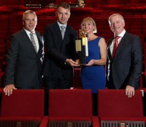 Pictured at the announcement of Music Generation as winner of the 2018 Allianz Business to Arts Award - Best Long-Term Partnership: (l to r) Sean McGrath CEO Allianz , Andrew Hetherington CEO Business to Arts, Rosaleen Molloy National Director Music Generation, Leo Blennerhassett Chairperson Music Generation. Pic. Robbie Reynolds
