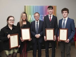 Pictured from left are the 2018/2019 recipients of the Waterford Institute of Technology (WIT) President's Scholarship programme: Aoife Molloy, Olivia Cusack, President of WIT Prof Willie Donnelly, Leon Keating, Neil Quinn.