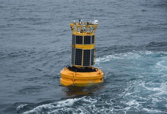 The M6 weather buoy being deployed on the Marine Institute's annual ocean climate survey.