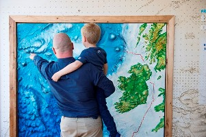 """Birthday boy Hugo Johnston, 7 today Friday and his father Graham Johnston from the Marine Institute explore Ireland's first """"Sea Science - the Wild Atlantic"""" at Galway City Museum during its official launch by Michael Creed TD Minister for Agriculture, Food and the Marine. """"Sea Science - the Wild Atlantic"""" is a free exhibition and is a partnership between the Marine Institute and Galway City Museum. Photo:Andrew Downes, xposure"""