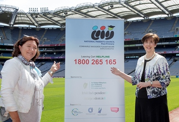 Minister of Education Norma Foley and NPCPP President Mai Fanning announce the NPCPP Leaving Cert Helpline 1800-265-165.