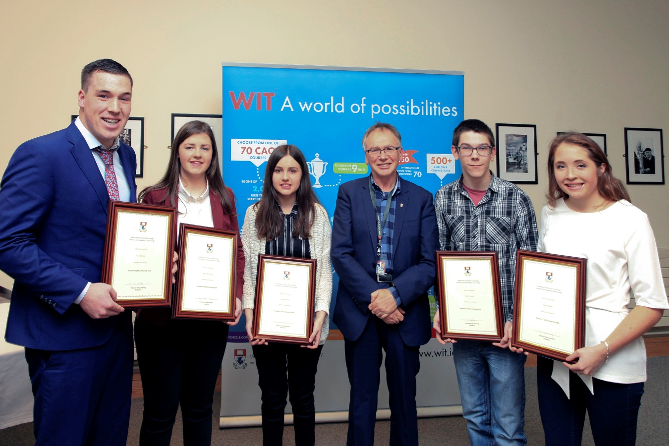 Pictured in 2017, the first cohort of scholars who completed their studies in 2020: Cian O'Grady, student of the School of Humanities; Roisin O'Donnell, student of the School of Science; Louise Dunphy, student of the School of Business; Professor Willie Donnelly, President of Waterford Institute of Technology; Gareth Dineen, student of the School of Engineering; Hannah Nash, student of the School of Health Sciences.