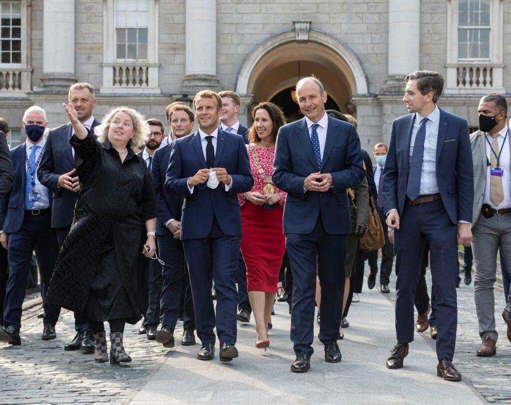French President Emmanuel MAcron visits Trinity College Dublin.