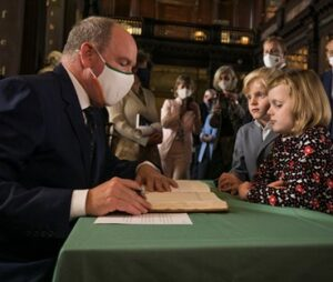 Prince Albert's children, Princess Gabriella and Crown Prince Jacques, joined him on the visit to Trinity College Dublin.