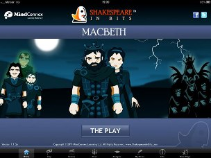 Splash screen of Shakespeare in Bits Macbeth app for iPad